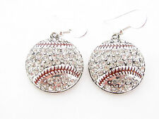 Baseball Clear Crystal Fashion Silver Plated Hook Earrings Jewelry