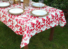1.4x2.5m OBLONG RED FLOWER ON WHITE OILCLOTH / PVC WITH PARASOL HOLE