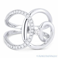 White Gold Overlap Loop Fashion Ring 0.33 ct Round Cut Diamond Right-Hand 14k
