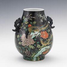 "Chinese Famille Noir Porcelain ""Hu"" Type Vase, Kangxi Marks"