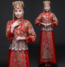 Chinese Retro Womens Bride Embroidery Slim Red Qipao Wedding Coat Long Dress Set