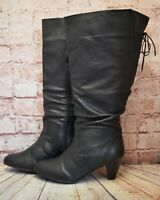 Womens Finish the Look Black Leather Knee High Boots UK 8 Extra-Extra-Wide