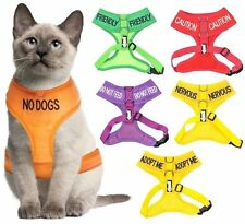 Color Coded Alert Cat Harness Waterproof Padded Adjustable Small Medium X Large