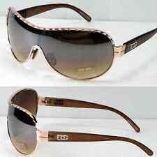 New DG Womens Designer Shield Semi Mirrored Sunglasses Fashion Brown Gold Shades