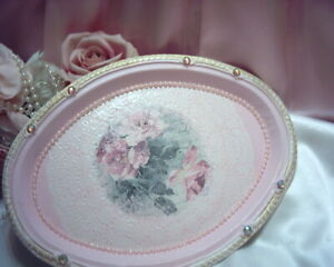 Shabby Victorian Chic METAL Display Tray~PINK~Romantic Rose Design~~OOAK