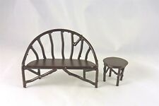 Closeout! Dollhouse Miniature Rustic Iron Wildwood Bench & Side Table