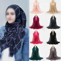 Women's Cotton Muslim Hijab Scarf Long Striped Islamic Hijab Shawl Wrap Scarves