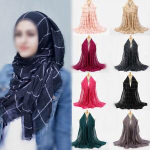 Women Cotton Muslim Hijab Scarf Long Striped Color Islamic Hijab Shawl head Wrap
