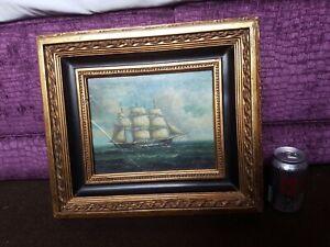 Antique old original oil painting, signed, framed