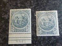 BARBADOS POSTAGE STAMP SG184A &184 2D LIGHTLY & UN MOUNTED MINT