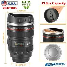 400ML Camera Lens Cup Coffee Travel Mug Thermos Stainless Steel Leak-Proof Lid