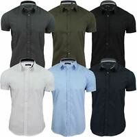 Brave Soul Mens Plain Shirt Short Sleeved Slim Fit