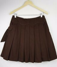 New Constance & Violet Womens Skirt 8 S Short A Line Pleat Bow Brown Winter C204