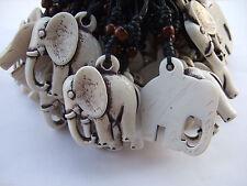 12pcs White Ethnic Tribal Faux Yak Bone Animal Elephant Pendants Necklace