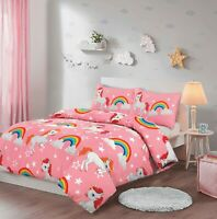 Kids Rainbow Unicorn Duvet Cover Pillowcase Bedding Set Single Double Pink