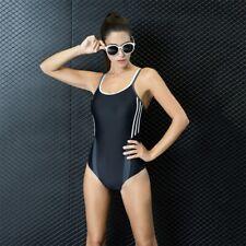 Black-Gray Sexy Women's Backless Triangle One Piece Swimsuit Sports Swimwear