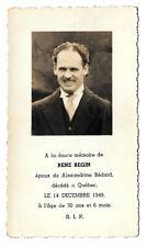 Memorial / death card Rene Begin, died Quebec 1949