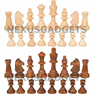Guge Chess PIECES ONLY Weighted Wood Set, LARGE 3.5 Inch King, NO BOARD, New