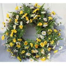 Decorative Seasonal Wreath Spring/Summer, Front Door or Indoor Wall Décor, Daisy