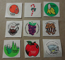 VTG 3M Martini Grape Apple Candy Cane Orange Pine Root Beer Sniff Stickers Set