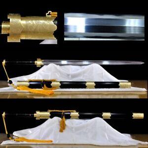 Refinings Pattern Steel GanJiang Sword Handmade Carved BRASS Fittings sharp#1703