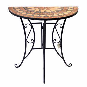 Mosaik Wandtisch halbrund 70x35cm Mosaiktisch Gartentisch Beistelltisch