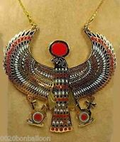 """EGYPTIAN HORUS JEWELRY NECKLACE ANKH HUGE SOLID METAL BRASS HANDMADE 4.5"""" (102)"""
