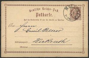 Deutsches Reich 1873 Ganzsachen PK P 1- 1/2 Gr. br.Adler, Möchengladbach-Wickrat