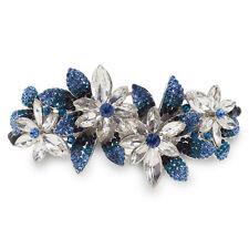 B39 Clear Crystal Blue Rhinestone Flower Barrette Hair Clip Party Gift