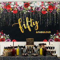 50th Birthday Photography Flowers Gold Glitter Party Backdrop Decor Vinyl 5X3FT