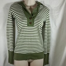 American Eagle Outfitters Top Size M Hooded Long Sleeve Striped 2 Buttons Casual