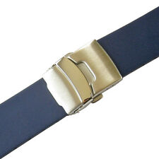 20mm Bonetto Cinturini 300L Mens Blue Smooth Rubber Deployant Watch Band Strap
