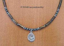 *Handmade* Pewter Bear Paw Pendant Necklace with bronzite & hematite beads