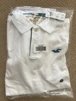 NWT Hollister By Abercrombie Mens Polo Shirt Slim Fit White/ Turquoise Logo, XL