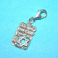 CLIP ON Charm Pendant WESTERN WALL, KOTEL with STAR of DAVID 925 Sterling Silver