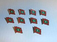 Wholesale Lot of 10 Maldives Flag Lapel Pin, Brass Finish, BRAND NEW