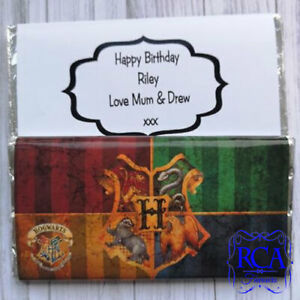 Large Chocolate Bar & Personalised Wrapper Birthday Christmas Gift Potter Houses