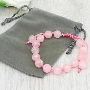 Adjustable Handmade Natural Rose Quartz Gemstone Cord Bracelet & Velvet Pouch.
