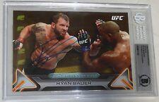 Ryan Bader Signed UFC 2016 Topps Knockout 5x7 Gold Card #3 BAS Beckett COA #/10