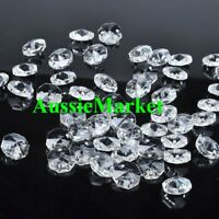 20 x clear beads octagon k9 crystal glass prism suncatchers mobiles 14mm 2 holes