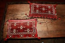 Pair Antique vtg Carpet Rug Pillows Red Brown Rectangle Juval Naqsha Afganistan?