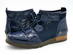 Sorel Womens 11 Blue Major Lace Patent Leather Round Toe Ankle Boot Bootie