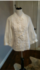 EUC OSCAR DE LA RENTA White Poet Sleeve Cotton Blend Blouse SZ 10 Made in Italy