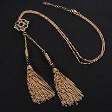 Haute Couture Color Pendant Tassel Fringe Necklace Gold Runway Lariat Necklace
