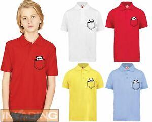 Panda in my Pocket funny cute Pocket printed Kids Polo t-shirt Gift Idea