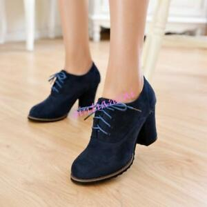 Womens Ankle Boots Pumps Boots Retro Lace Up Velvet Pointed toe Oxford Shoes