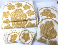 Vintage TEXCRAFT TOWELS Set of 6 Gold & White Roses 100% Cotton Made In Brazil