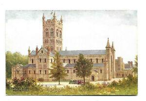 Artist Drawn Postcard Salmon A R Quinton Buckfast Abbey North West Tall Tower