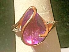 14k ROSE GOLD  4 CT  AMETHYST & DIAMOND  RING SIZE 6.75