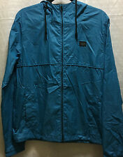 Billabong Mens Womens Blue Zip Hood Windbreaker Rain Jacket S